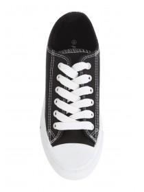 Womens Black Lace Up Trainers