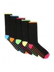 Mens 5pk Black Design Socks