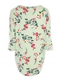 Womens Green Floral 3/4 Sleeve Top