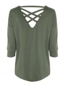 Womens Khaki Lattice Back T-Shirt
