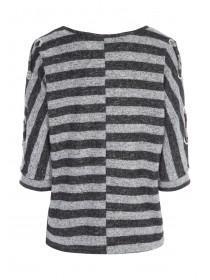 Womens Grey Stripe Lace Sleeve Jumper