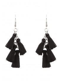 Womens Black Tassel Earrings
