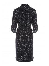 Womens Monochrome Spot Shirt Dress