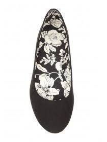 Womens Black Floral Almond Toe Shoes