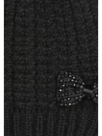 Womens Black Bead Bow Beanie Hat