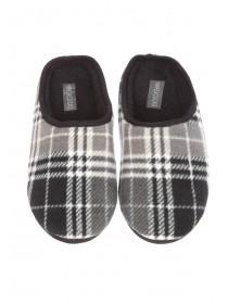 Mens Check Mule Slippers