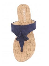 Womens Dark Blue Tassle Toe Post Sandals
