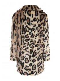 Womens Leopard Print Faux Fur Coat