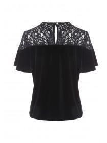 Womens Black Velvet and Lace Top