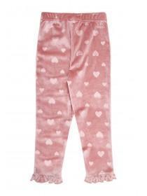 Younger Girls Pink Velour Heart Leggings