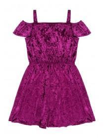 Older Girls Berry Velour Dress