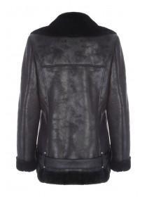 Womens Black Faux Shearling Coat