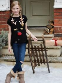 Older Girls Black Reindeer Sequin Top