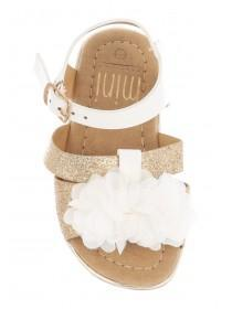 Younger Girls Gold Glitter Strap Corsage Sandals