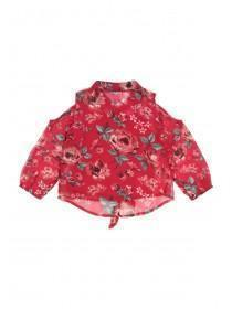 Younger Girls Red Floral Blouse