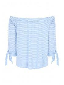Womens Blue Striped Bardot Top