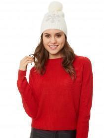 Jane Norman Cream Sequin Snowflake Hat