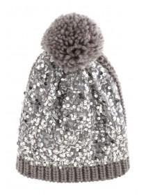 Jane Norman Grey Sequin Hat