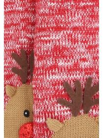Womens Red Reindeer Slipper Socks