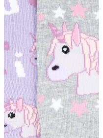 Girls 2pk Unicorn Socks