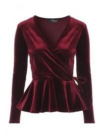 Jane Norman Berry Velvet Wrap Top