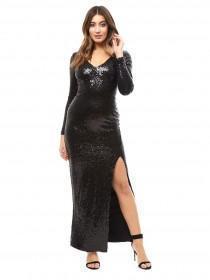 Jane Norman Black Sequin Maxi Dress