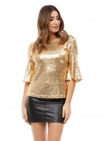 Jane Norman Gold Sequin Flare Sleeve Top