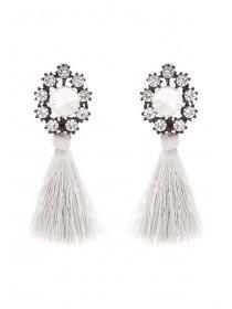 Womens Grey Tassel Earrings