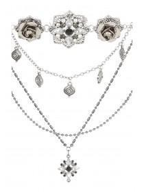 Womens Burnished Flower Layered Necklace