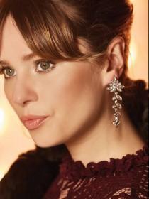 Womens Silver Gem Earrings