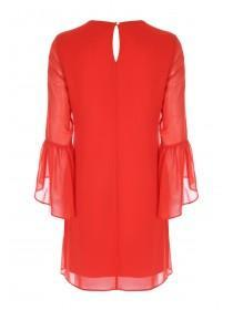Womens Red Flute Sleeve Dress