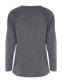 Womens Grey Gather Sleeve Top