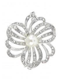 Womens Silver Pearl Brooch