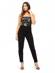 Jane Norman Black Brocade Jumpsuit