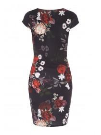 Jane Norman Floral Wrap Ruched Dress