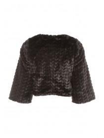 Black Faux Fur Shrug