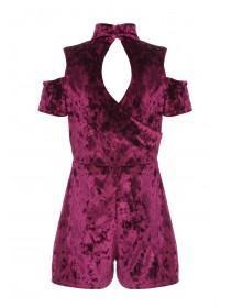Girls Sohpie Purple Velvet Playsuit