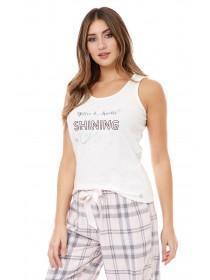 Jane Norman Cream Sparkle Slogan Pyjama Top