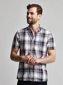 Mens Dark Blue Check Shirt