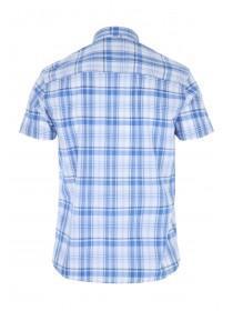 Mens Blue Short Sleeve Checked Shirt