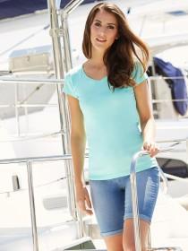 Womens Aqua Short Sleeve V-Neck T-Shirt