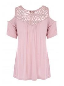 Womens Pink Crochet Cold Shoulder T-Shirt