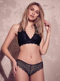 Womens Black Lace Crochet Thong