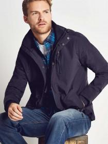 Mens Dark Blue Lightweight Hooded Jacket