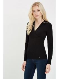 Jane Norman Black Long Sleeve Wrap Jumper