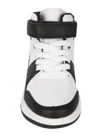 Younger Boys Black & White High Top Trainers