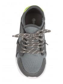Boys Grey Raised Outsole Runner Shoe