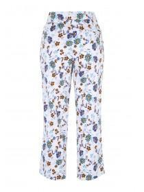 Womens White Cotton Sateen Cropped Trousers
