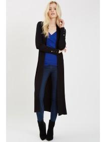 Jane Norman Black Rib Maxi Cardigan