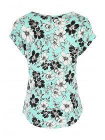 Womens Green All-Over Print Zip Back T-Shirt